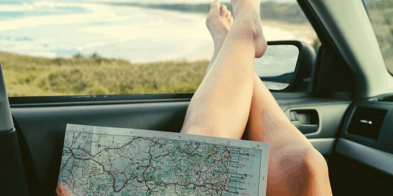road map and a beach view