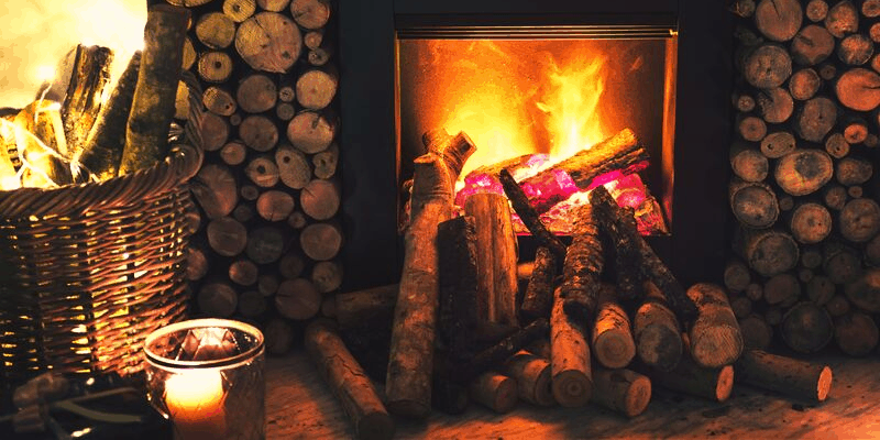 fireplace on a winter evening