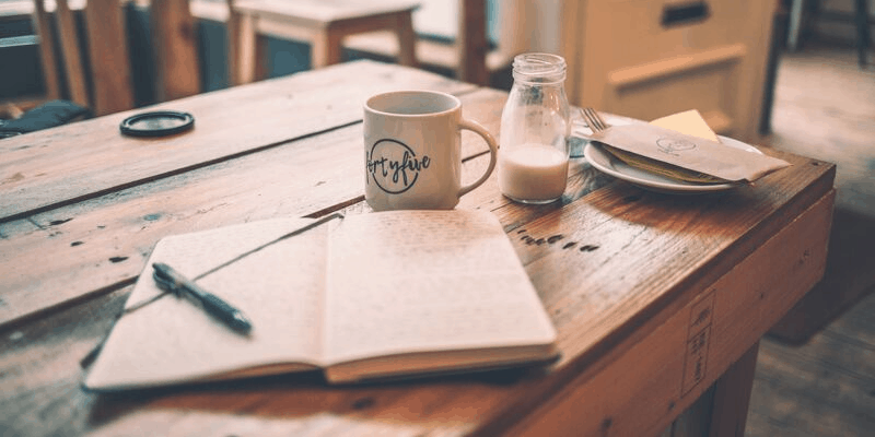 gratitude journal on the table with things to be grateful for