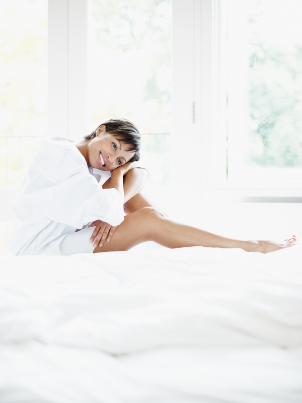 woman-in-white-relaxing-at-home